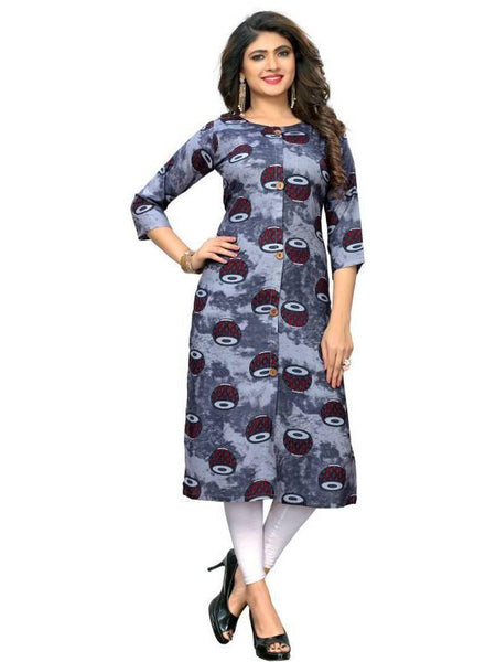 Designer Grey and Blue Color Rayon Printed Kurti