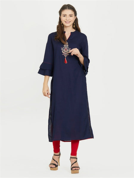Designer Slub Rayon Blue Color Handwork Designer Straight Cut kurti