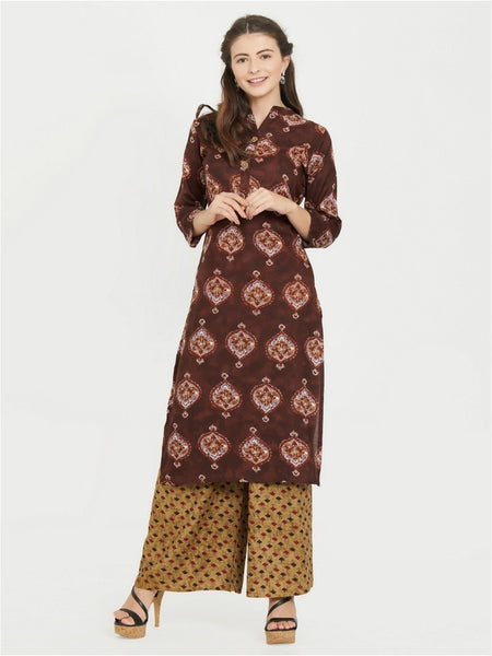 Designer Brown Color Rayon Printed kurti with plazzo