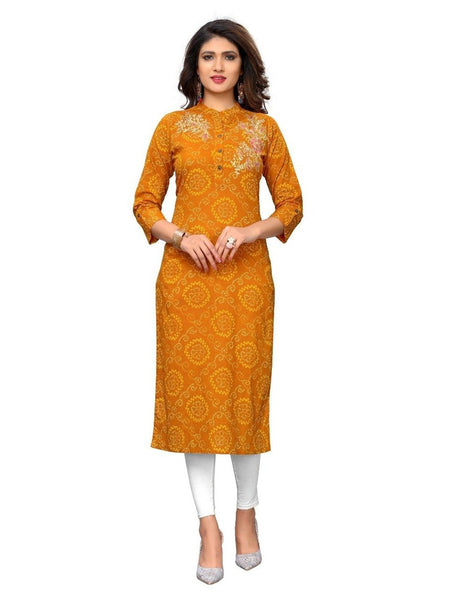 Designer Cotton Yellow Color Gotapatti Printed kurti