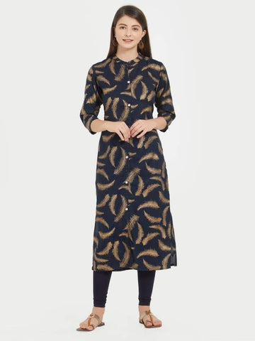 Designer Black Color Printed Rayon Straight Cut Kurti