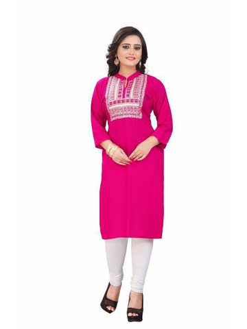 Beautiful Printed Pink Color Rayon Kurtis