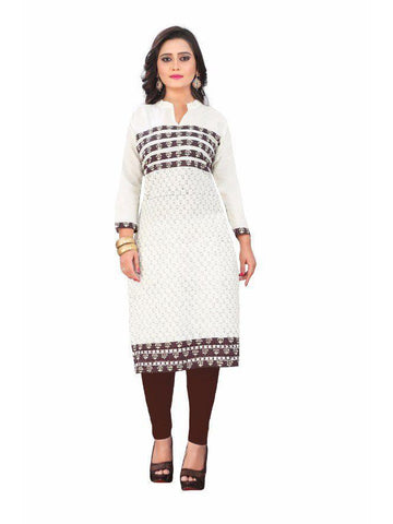 Beautiful Printed Off white Color Cotton Kurtis