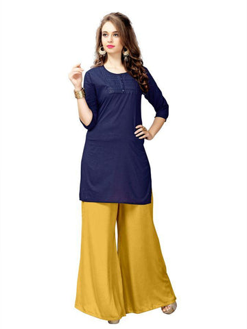 Beautiful Printed Navy blue Color Pure cotton Kurtis