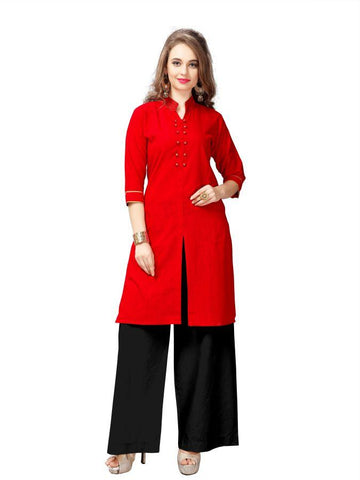 Beautiful Printed Red Color Cotton Kurtis