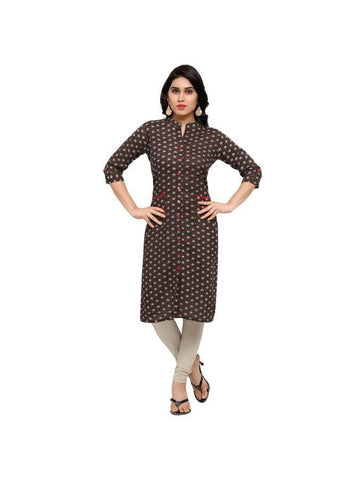 Beautiful Printed Brown Color Cotton Kurtis