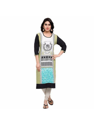Beautiful Printed Black Color Rayon Kurtis