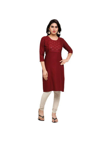 Beautiful Printed Maroon Color Rayon Kurtis