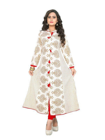 Beautiful Printed Off white Color Pure cotton Kurtis