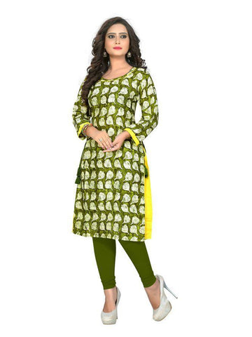 Beautiful Printed Olive Color Rayon Kurtis