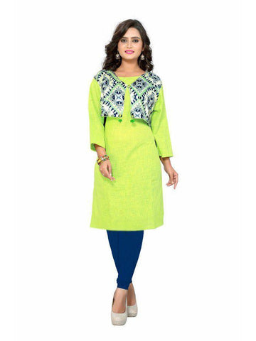 Beautiful Printed Olive Color Cotton Kurtis
