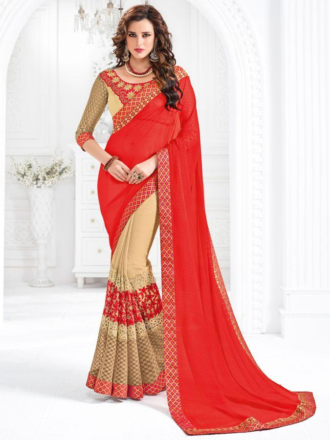 Indian Women red and beige color marble chiffon Saree