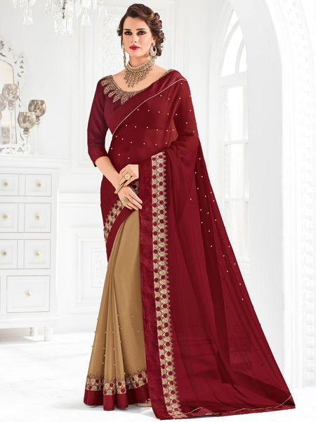 Indian Women maroon and beige color georgette Saree