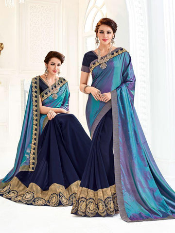 Indian Women cyan and violet color silk and georgette Saree