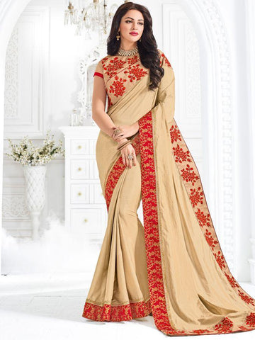 Indian Women beige color silk Saree