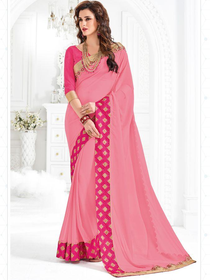 Indian Women pink color marble Saree