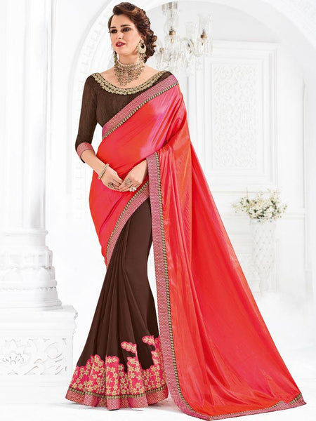 Indian Women orange and maroon color silk and georgette Saree
