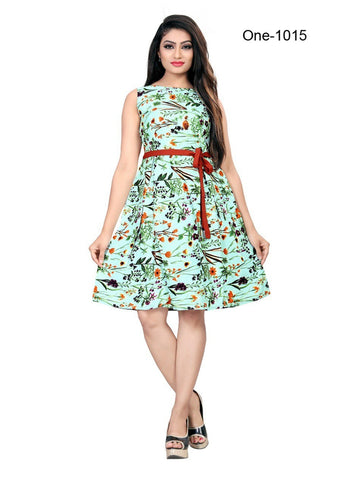Designer Multi Color Digital Printed Crepe Western Dress