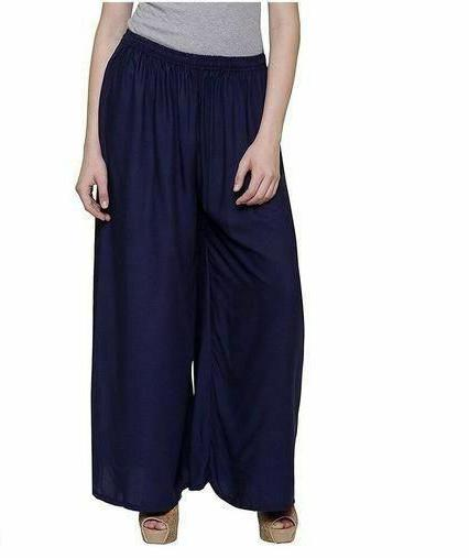 Rayon Stitched Navy Blue Colour Palazzo Pant