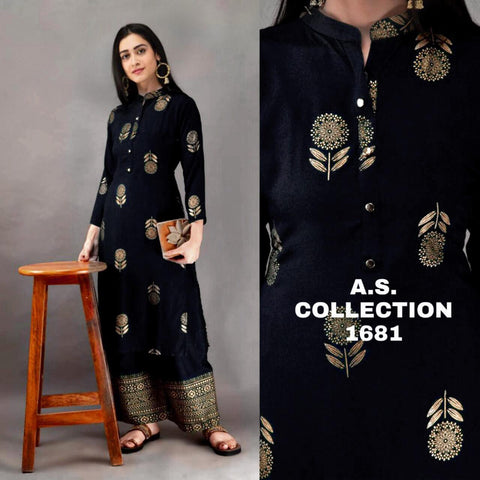 Beautiful Rayon Gold Printed Straight Cut Kurti with Palazzo