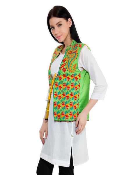 Parrot Green Trendy Jacket - PurpleTulsi.com
