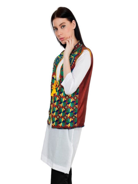 Brown and Multicolor Trendy Jacket - PurpleTulsi.com