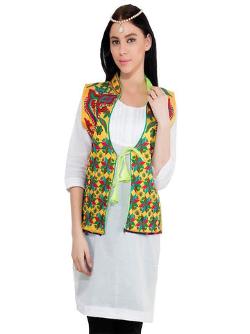 Yellow and Multicolor Trendy Jacket - PurpleTulsi.com