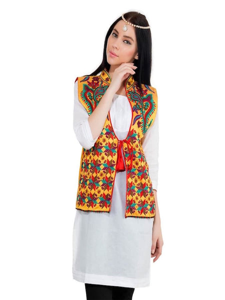 Fire Yellow and Multicolor Trendy Jacket - PurpleTulsi.com