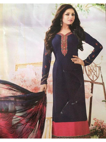 Designer Embroidered Blue Color Straight Cut Suit