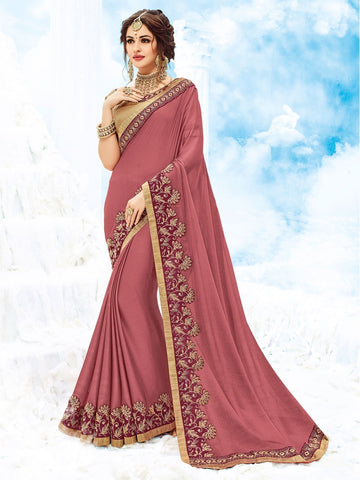 Indian Women Dark Red Two tone Chiffon Saree