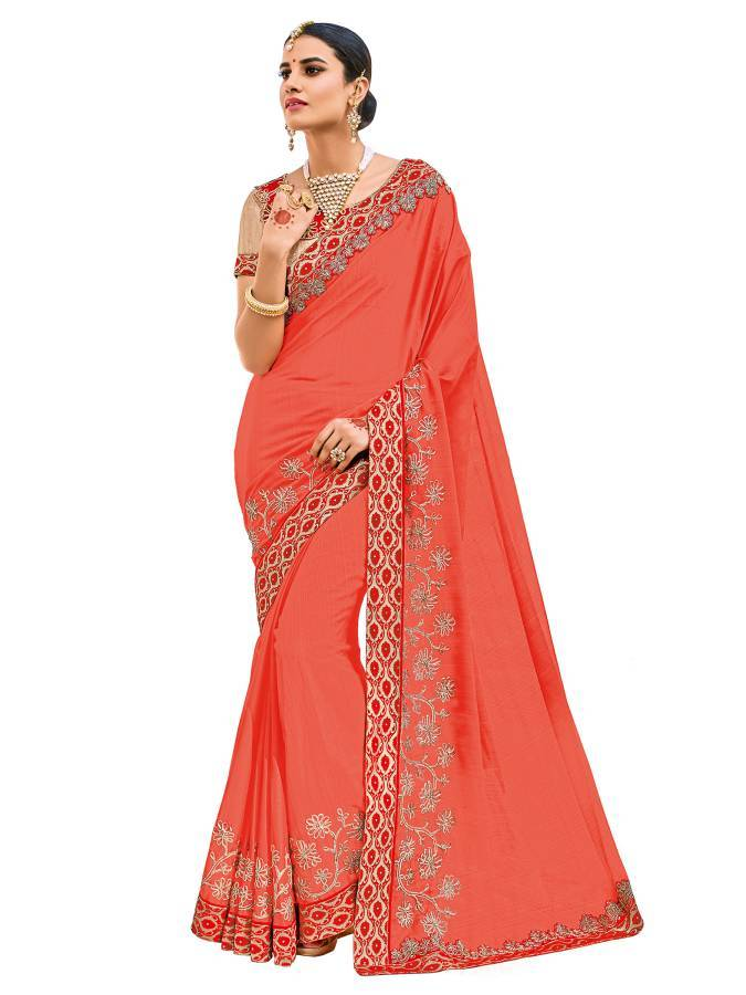 Indian Women orange color two-tone chiffon pattern Saree