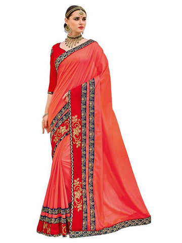 Indian Women red color two-tone silk fabrics Saree