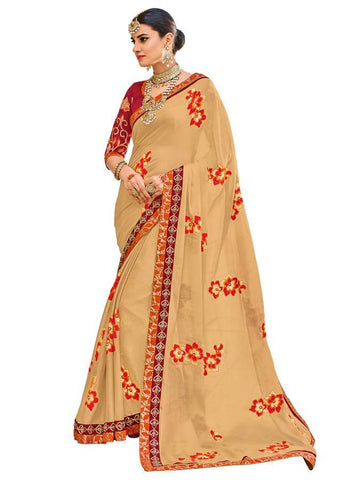 Indian Women beige(Chiku) color moss chiffon Saree