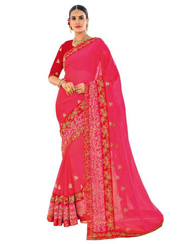 Indian Women magenta color two-tone chiffon pattern Saree