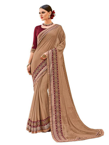 Indian Women beige color two-tone chiffon pattern Saree