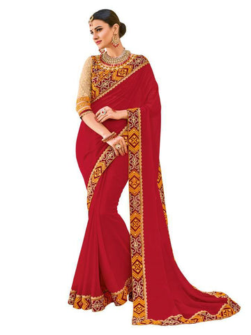 Indian Women maroon color georgette Saree