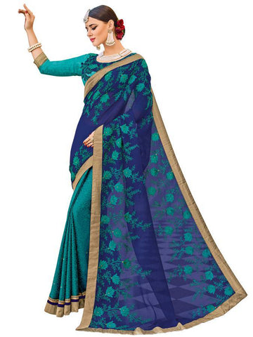 Indian Women violet and green color chiffon and Jacquard Saree