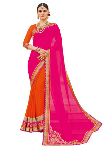 Indian Women pink and orange color georgette and crape chiffon Saree