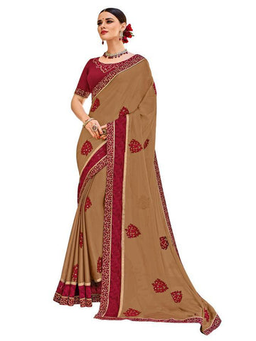 Indian Women Beige color two-tone moss chiffon Saree
