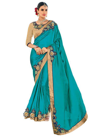 Indian Women cyan color two-tone silk fabrics Saree