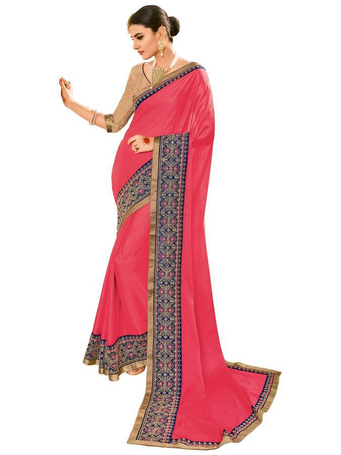 Indian Women pink color two-tone bright georgette Saree