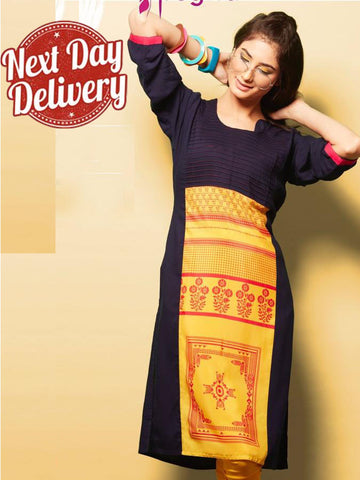 Black and Yellow Rayon Kurti
