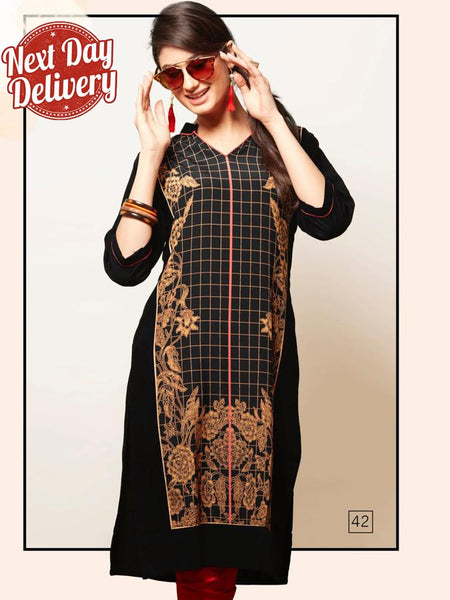 Black and Gold Rayon Kurti
