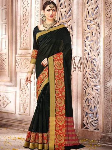 (Only 1 Left) Beautifull Black Cotton Silk Banarsi Saree