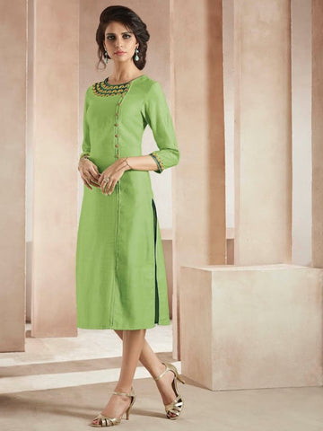 Beautiful Embroidered Thread Work Light Green Color Kurti