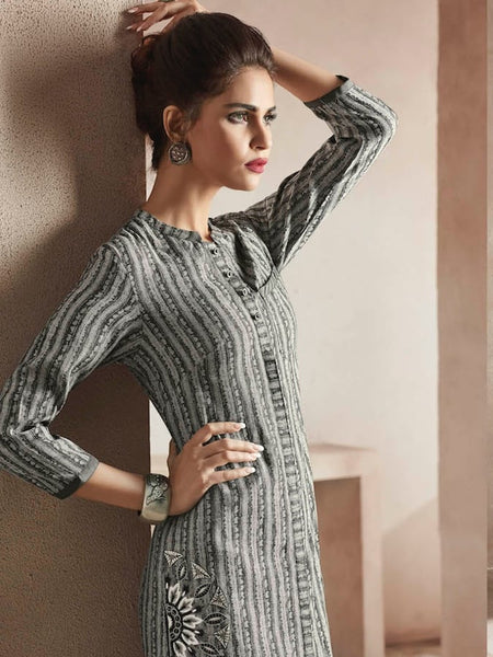 Beautiful Embroidered Thread Work Grey Color Kurti