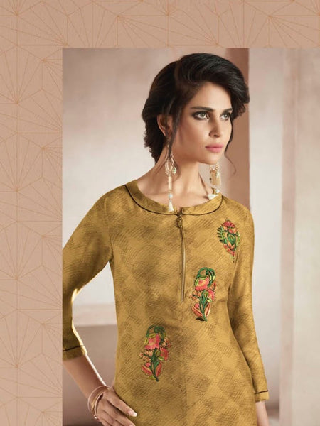 Beautiful Embroidered Thread Work Golden Yellow Color Kurti