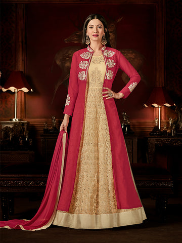 Designer Dark Pink & Beige Jari & Resham Embroidery With Stone Work Georgette Anarkali Suit