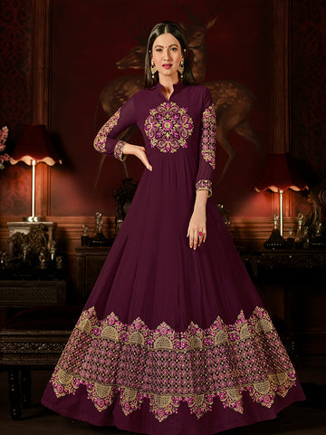 Designer Wine Color Jari & Resham Embroidery With Stone Work Georgette Anarkali Suit