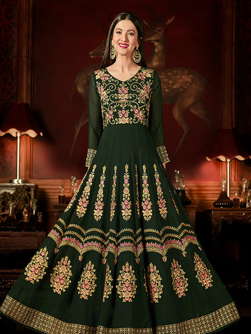 Designer Pine Green Jari & Resham Embroidery With Stone Work Georgette Anarkali Suit